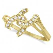 Double Horseshoe Diamond Ring in 14K Yellow Gold (0.10ct)