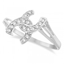Double Horseshoe Diamond Ring in 14K White Gold (0.10ct)