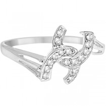 Double Horseshoe Diamond Ring in 14K White Gold (0.10ct)|escape