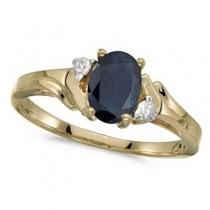 Oval Blue Sapphire and Diamond Ring in 14K Yellow Gold (0.95ct)