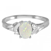 Oval Opal and Diamond Ring in 14K White Gold (0.46ct)