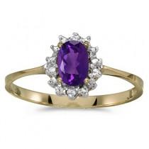 Amethyst & Diamond Right Hand Flower Shaped Ring 14k Yellow Gold (0.45ct)