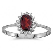 Garnet & Diamond Right Hand Flower Shaped Ring 14k White Gold (0.55ct)