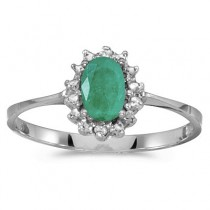 Emerald & Diamond Right Hand Flower Shaped Ring 14k White Gold (0.45ct)
