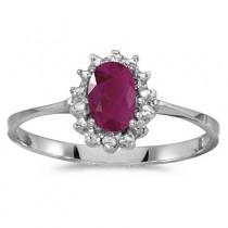 Ruby & Diamond Right Hand Flower Shaped Ring 14k White Gold (0.55ct)