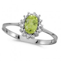 Peridot & Diamond Right Hand Flower Shaped Ring 14k White Gold (0.55ct)