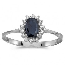 Blue Sapphire & Diamond Lady Diana Ring 14k White Gold (0.60ct)|escape