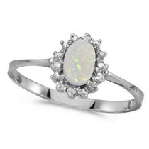Opal & Diamond Right Hand Flower Shaped Ring 14k White Gold (0.55ct)
