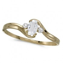 White Topaz Solitaire & Diamond Accents Ring 14K Yellow Gold (0.28ct)