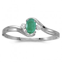 Oval Emerald and Diamond Right-Hand Ring 14K White Gold (0.30ctw)