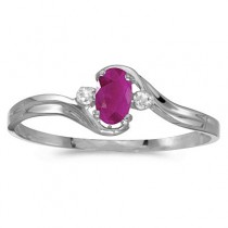 Oval Ruby and Diamond Right-Hand Ring 14K White Gold (0.35ctw)