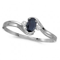 Oval Blue Sapphire & Diamond Right-Hand Ring 14K White Gold (0.25ctw)