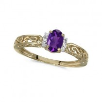 Oval Amethyst & Diamond Filigree Antique Style Ring 14k Yellow Gold