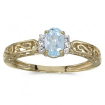 Oval Aquamarine & Diamond Filigree Antique Style Ring 14k Yellow Gold