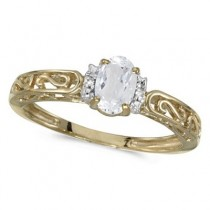 White Topaz & Diamond Filigree Antique Style Ring 14k Yellow Gold