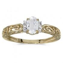White Topaz & Diamond Filigree Antique Style Ring 14k Yellow Gold