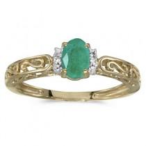 Oval Emerald & Diamond Filigree Antique Style Ring 14k Yellow Gold
