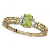 Oval Peridot & Diamond Filigree Antique Style Ring 14k Yellow Gold