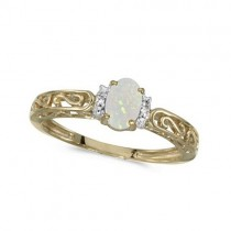 Oval Opal & Diamond Filigree Antique Style Ring 14k Yellow Gold