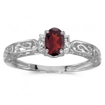 Oval Garnet & Diamond Filigree Antique Style Ring 14k White Gold