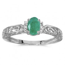 Oval Emerald & Diamond Filigree Antique Style Ring 14k White Gold