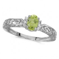 Oval Peridot & Diamond Filigree Antique Style Ring 14k White Gold
