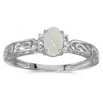 Oval Opal & Diamond Filigree Antique Style Ring 14k White Gold