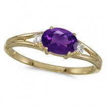Oval Amethyst & Diamond Right-Hand Ring 14K Yellow Gold (0.45ct)