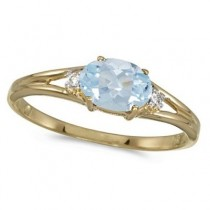 Oval Aquamarine & Diamond Right-Hand Ring 14K Yellow Gold (0.40ct)