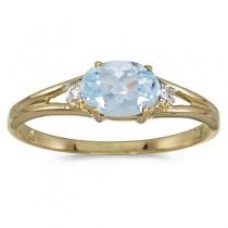 Oval Aquamarine & Diamond Right-Hand Ring 14K Yellow Gold (0.40ct)