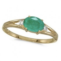 Oval Emerald & Diamond Right-Hand Ring 14K Yellow Gold (0.45ct)