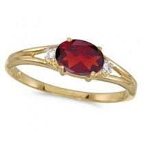 Oval Ruby & Diamond Right-Hand Ring 14K Yellow Gold (0.60ct)