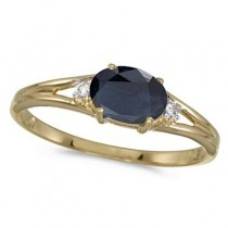 Oval Blue Sapphire & Diamond Right-Hand Ring 14K Yellow Gold (0.55ct)