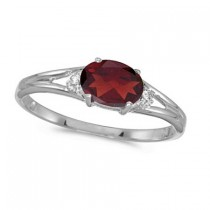 Oval Garnet & Diamond Right-Hand Ring 14K White Gold (0.55ct)