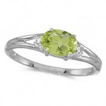 Oval Peridot & Diamond Right-Hand Ring 14K White Gold (0.55ct)