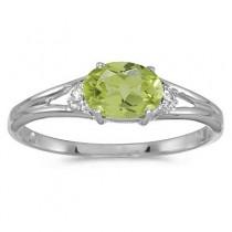 Oval Peridot & Diamond Right-Hand Ring 14K White Gold (0.55ct)