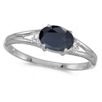 Oval Blue Sapphire & Diamond Right-Hand Ring 14K White Gold (0.55ct)
