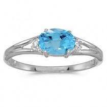 Oval Blue Topaz & Diamond Right-Hand Ring 14K White Gold (0.59ct)