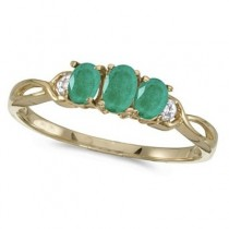 Oval Emerald and Diamond Three Stone Ring 14k Yellow Gold (0.65ctw)