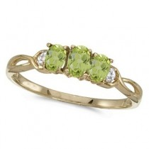 Oval Peridot and Diamond Three Stone Ring 14k Yellow Gold (0.65ctw)