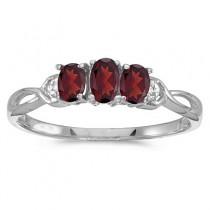 Oval Garnet and Diamond Three Stone Ring 14k White Gold (0.65ctw)