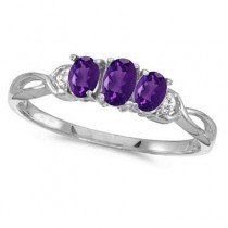 Oval Amethyst and Diamond Three Stone Ring 14k White Gold (0.53ctw)