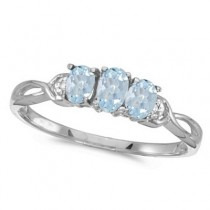 Oval Aquamarine and Diamond Three Stone Ring 14k White Gold (0.50ctw)