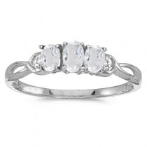 Oval White Topaz and Diamond Three Stone Ring 14k White Gold (0.75ctw)