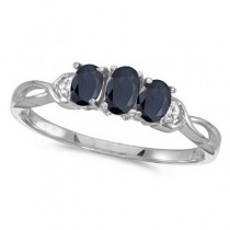Oval Blue Sapphire & Diamond Three Stone Ring 14k White Gold (0.65ct)