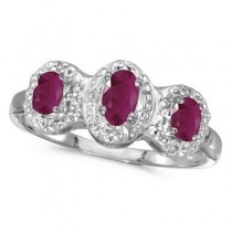 0.75tcw Oval Ruby and Diamond Three Stone Ring 14k White Gold