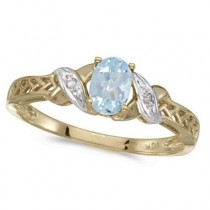 Aquamarine & Diamond Antique Style Ring in 14K Yellow Gold (0.40ct)