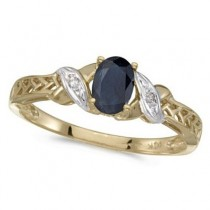 Blue Sapphire & Diamond Antique Style Ring 14K Yellow Gold (0.55ct)