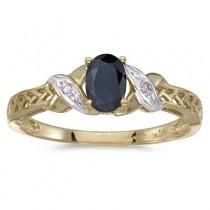 Blue Sapphire & Diamond Antique Style Ring 14K Yellow Gold (0.55ct)