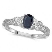 Blue Sapphire & Diamond Antique Style Ring 14K White Gold (0.55ct)